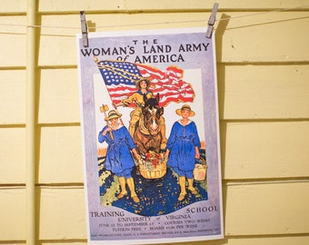 The Woman's Land Army of America - Training School - University of Virginia - Vintage Poster Reproduction - Victory Gardens