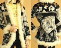 On Sale! 1970's Vintage Wool Shearling Leopard Coat