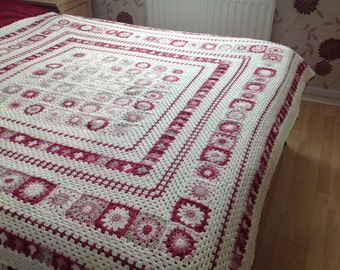 Crochet Grace Blanket. Pinks and Cream. Bedspread,Afghan, Sofa or even Playroom for lots of snuggles ! SOLD OUT !!