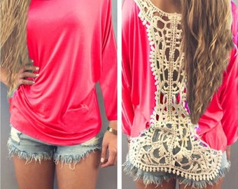 Lace back shirt