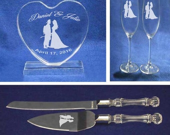 Firefighter Wedding Cake Topper Glasses Knife Set Personalized