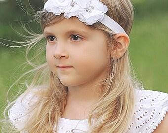 White Rosette Headband