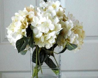 SILK Hydrangea Arrangement -Floral Arrangement-Flower Arrangement-Silk flowers-White & Cream Hydrangea -Fake flowers-White flowers