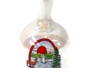 "Wisconsin ""The Badger State"" Glazed Ceramic Souvenir Bell"