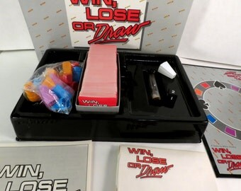 WIN, LOSE Or DRAW Fast Paced Drawing Board Game. Ages 12+, Team Play, Vintage 1987, Great Condition, some parts unopened.
