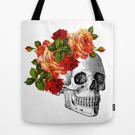 Sugar Skull Tote Bag, Dia de los Muertos, Skull Beach Bag, Library ...