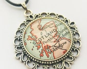 Scotland Map Necklace, Highlands Map Pendant, Scotland Antique Silver Plated Necklace