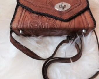 Vintage carved leather purse