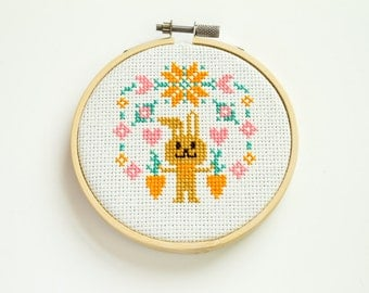 Happy Bunny Cross Stitch, Hoop Art