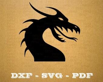 Dragon SVG fire vector files for cricut, Dragon cutting files, clipart dragon, DXF files dragon, silhouette dragon, svg dragon