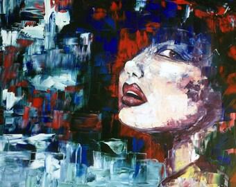 WHAT! / QUÉ. Woman. Pintura óleo sobre lienzo a espátula. Oil painting palette knife. Canvas