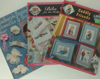 Vintage 1990s Craft Instruction Books Hairbands Bows Bibs Lingerie Cats More!