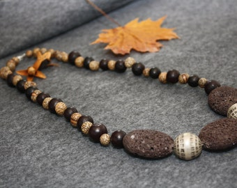 Lava necklace with Hornpearls and silver balls
