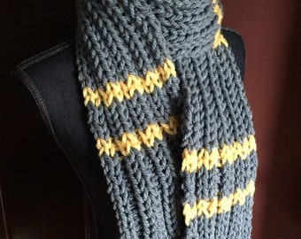 Chunky blue knit scarf with yellow stripes