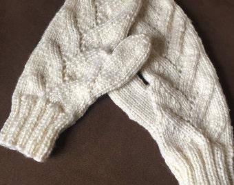 Knit Mittens, Ivory, Lace, Alpaca