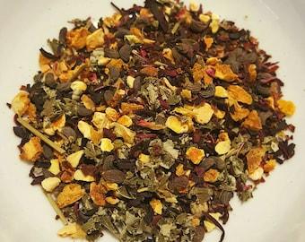 Sweet Delight - Loose Leaf Organic Tea, Herbal Tea, Blackberry Leaf, Rosehips, Hibiscus, Privet Fruit, Orange Peel, Sweet Tea, Vegan Tea