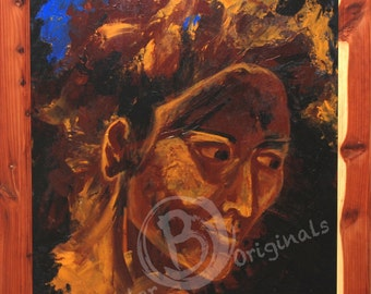 """Contemplation Painting Acrylic Canvas 18x24- Strong Woman """"Considering"""""""