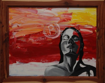 """Tropical Painting 16x20- Woman in color, """"Sunset"""""""