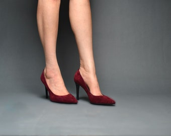 Womens Deep wine Suede Court Shoe Size UK 9 EU 43