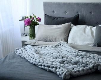 40x60 inches. Chunky knit Blanket. Knitted blanket. Merino Wool Blanket. Bulky Blanket. Extreme Knitting.Super chunky blanket