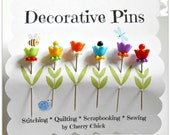Decorative Pins - Sewing Pins - Fancy Pins - Thread Catcher Pins - Pin Toppers - Scrapbooking Pins - Gift for Sewers - Bulletin Board Pin