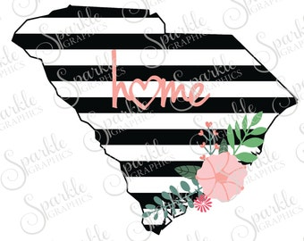 South Carolina Cut File Stripes Flowers State Black And White Stripes State Svg Dxf Eps Png Silhouette Cricut Cut File Commercial Use