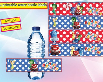 Inside out water bottle label,  Inside out Party , Inside out birthday, INSTANT DOWNLOAD,
