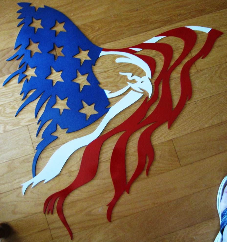Custom Plasma Cut 14 Gauge Steel Metal Eagle Shredding
