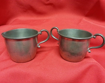 "GENUINE PEWTER Sugar and Creamer 2 1/2"" tall"
