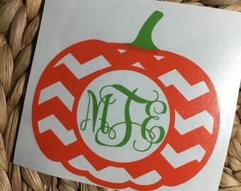 Monogrammed Chevron Pumpkin Vinyl Decal