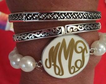 Monogrammed Disc Pearl Bracelet