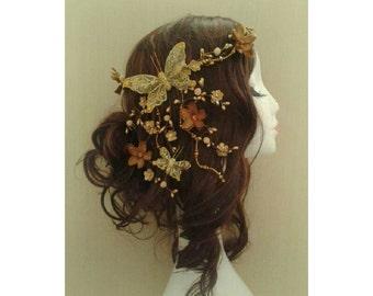 Rustic Metallic Waterfall Butterfly Flower Floral Headdress Wreath Headband