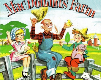 Old MacDonalds farm coloring book, color by number, coloring page, vintage coloring, storybook coloring, nursery rhymes, instant download