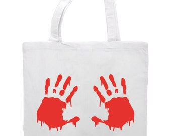 Bloody Hand Prints Zombie Gore Horror Gift Sublimation Tote Bag Shopper