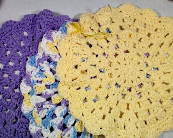 Dish Cloths, Set of Three, Wash Cloths, 100% Cotton, Handmade Crochet, Pansy Colors