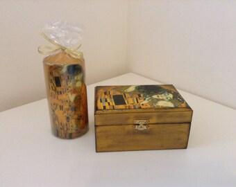 Gift sett- Jewelry Box and Candle -Gustav Klimt