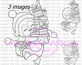 Digital Stamp, Digi Stamp, Digistamp, Snowy Delivering Presents by Conie Fong, Penguin, valentines, birthday, Christmas, coloring page, love
