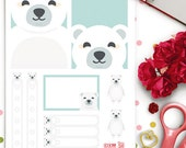 Polar Bear Weekly Theme Planner Stickers |  Erin Condren | Life Planner | Horizontal & Vertical | Cute | Animals