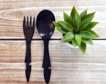 Carved wooden fork spoon salad set