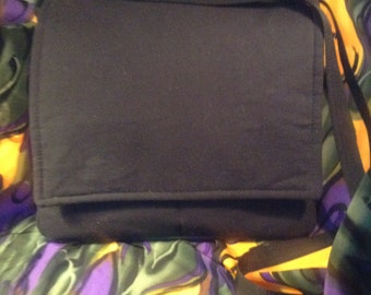 Handmade Black Canvas Cross-Body Messenger Bag with Ethnic Lining