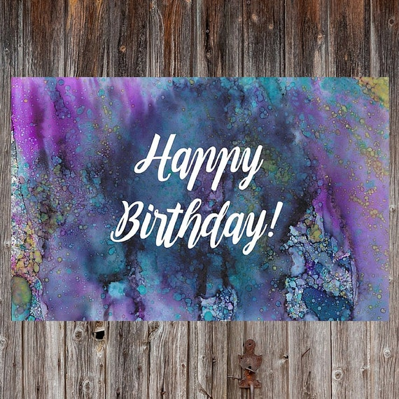 Watercolor Happy Birthday Alcohol Ink Birthday By