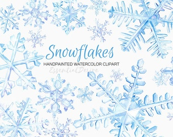 Watercolor Snowflakes Clipart, DIY Invitation, Hand Painted, Stickers Illustration, Xmas Clipart, Christmas Decoration, Winter Clipart, Snow