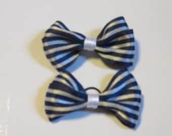 Navy Blue/White Stripe Dog Double Ribbon Hair Bow