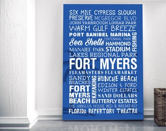 Fort Myers Florida Themed Canvas