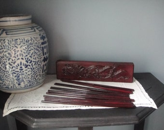 Chopsticks (8 pair) in carved wooden box