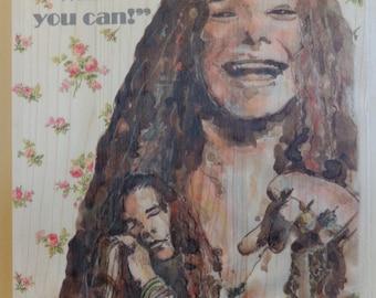Janis Joplin. Watercolour on wood.