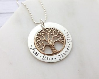 2 Tone Gold & Silver Family Tree Hand Stamped Personalised Name Necklace Pendant