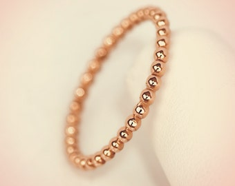14K Rose Gold Round Beaded Midi Fashion Ring/ Midi Ring/ Knuckle Ring/ Stacking Ring/ Upper Finger Ring/ Gift for her
