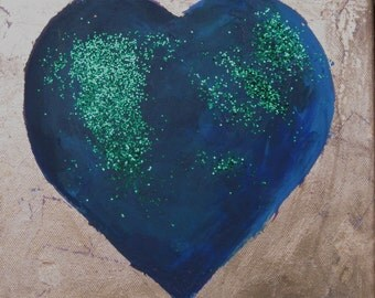 painting of a blue and gold heart