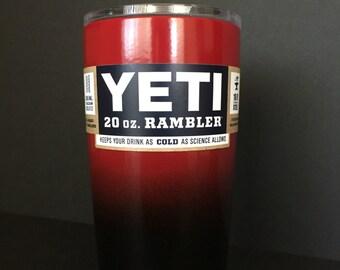 Custom powder coated Black and Ruby Red 20oz Yeti Rambler